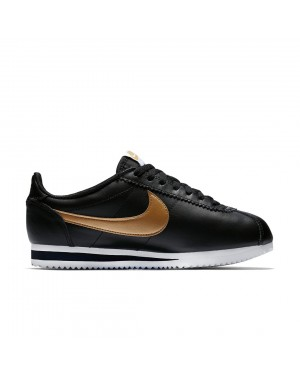 Femme Nike Classic Cortez Leather Noir/Or 807471-008 Chaussures