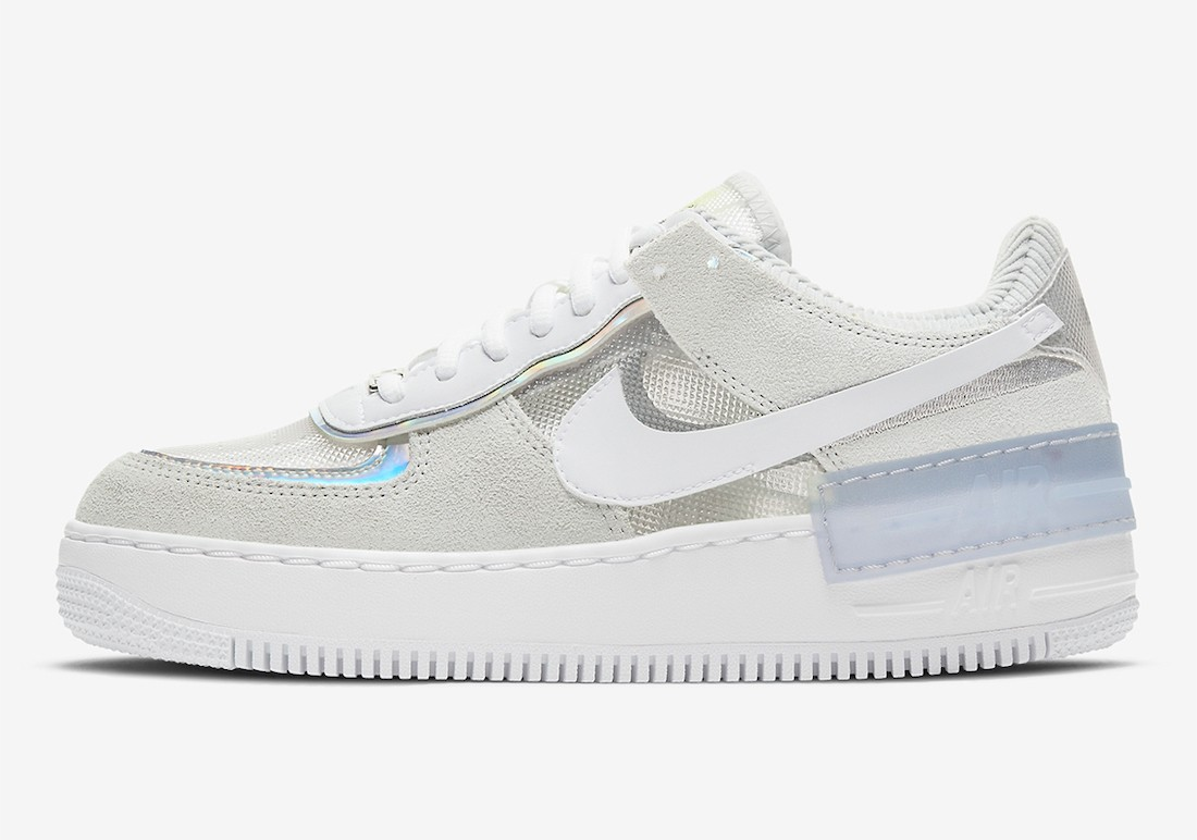 DC5255-043 Nike Femme Air Force 1 Shadow - Pure Platinum/Blanche-Metallic Silver