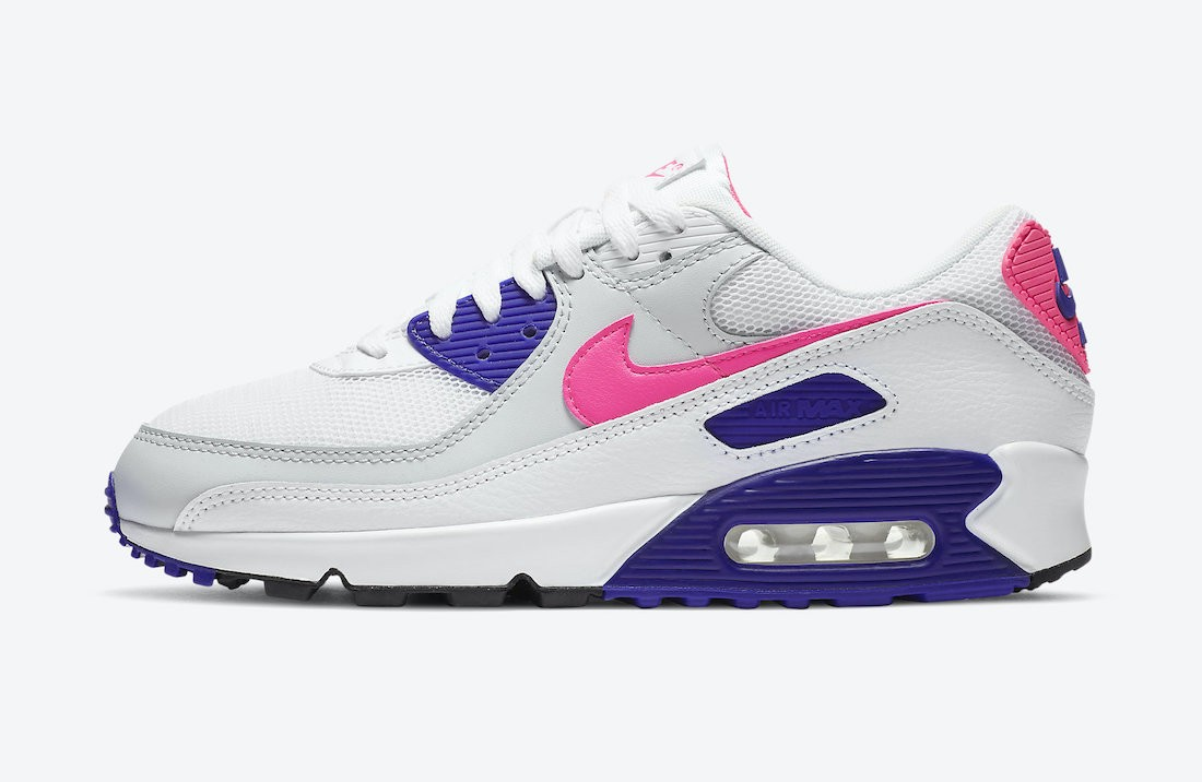 DC9209-100 Nike Femme Air Max 90 Chaussures - Blanche/Grise-Rose-Concord
