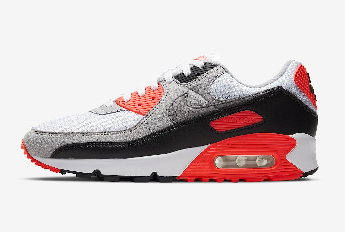 "CT1685-100 Nike Air Max 90 OG ""Infrared"" - Blanche/Noir-Grise-Rouge"