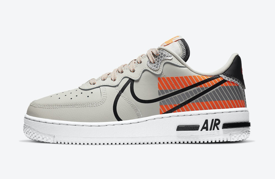 CT3316-002 3M x Nike Air Force 1 React - Grise/Noir-Rouge