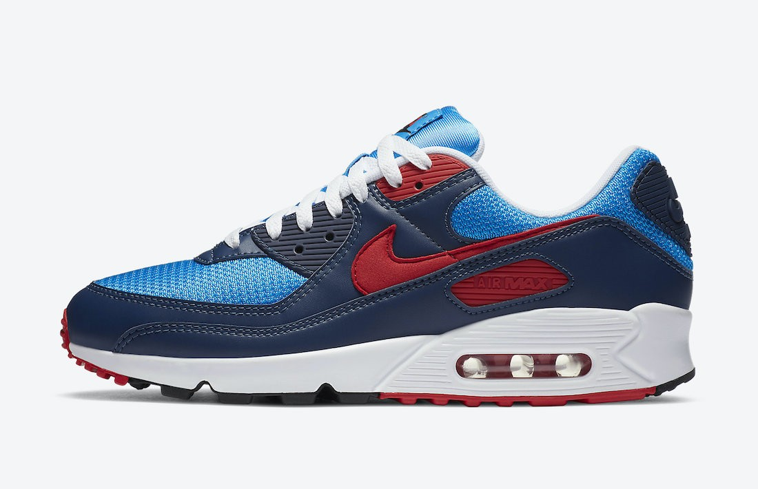 CT1687-400 Nike Air Max 90 Homme Chaussures - Bleu/Rouge
