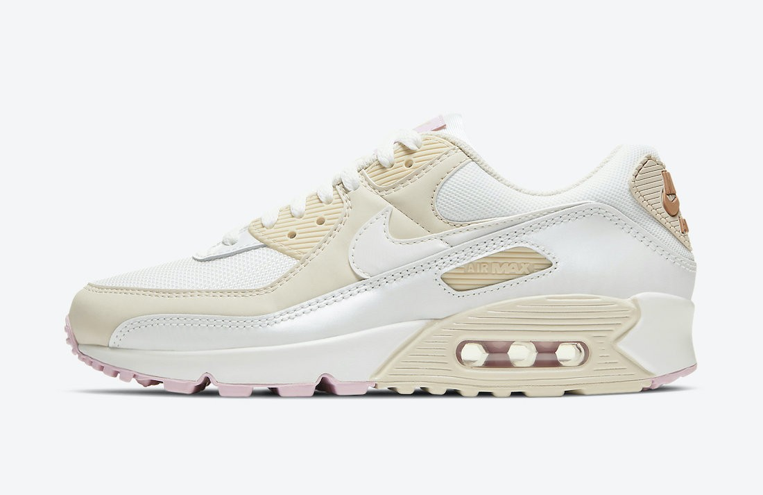 CT1873-100 Nike Femme Air Max 90 - Blanche/Metallic Red Bronze