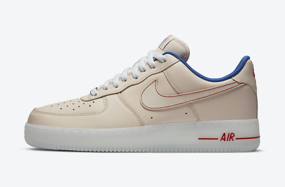 DH0928-800 Nike Air Force 1 Low Chaussures - Beige/Rouge-Bleu