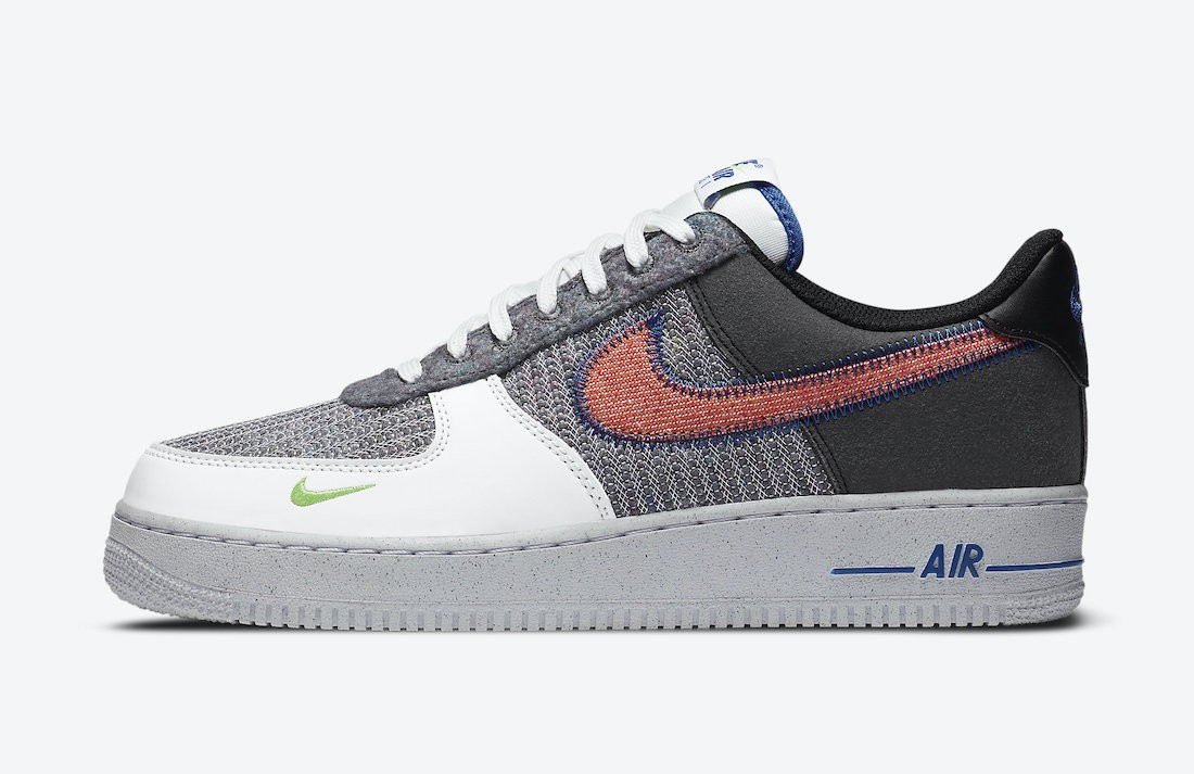 CU5625-122 Nike Air Force 1 Low Homme - Blanche/Rouge-Grise-Vert