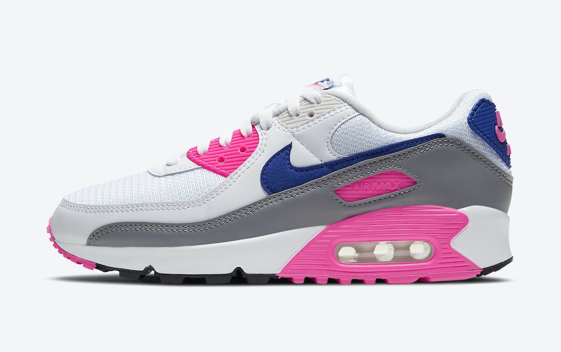 """CT1887-100 Nike Air Max 90 Femme """"Concord"""" - Blanche/Grise-Concord-Rose"""