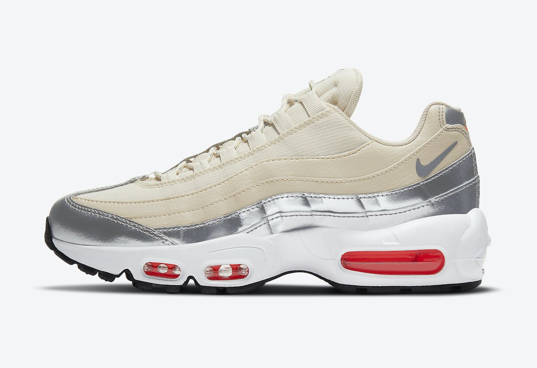 CT1935-100 3M x Nike Femme Air Max 95 - Cream/Metallic Silver-Blanche