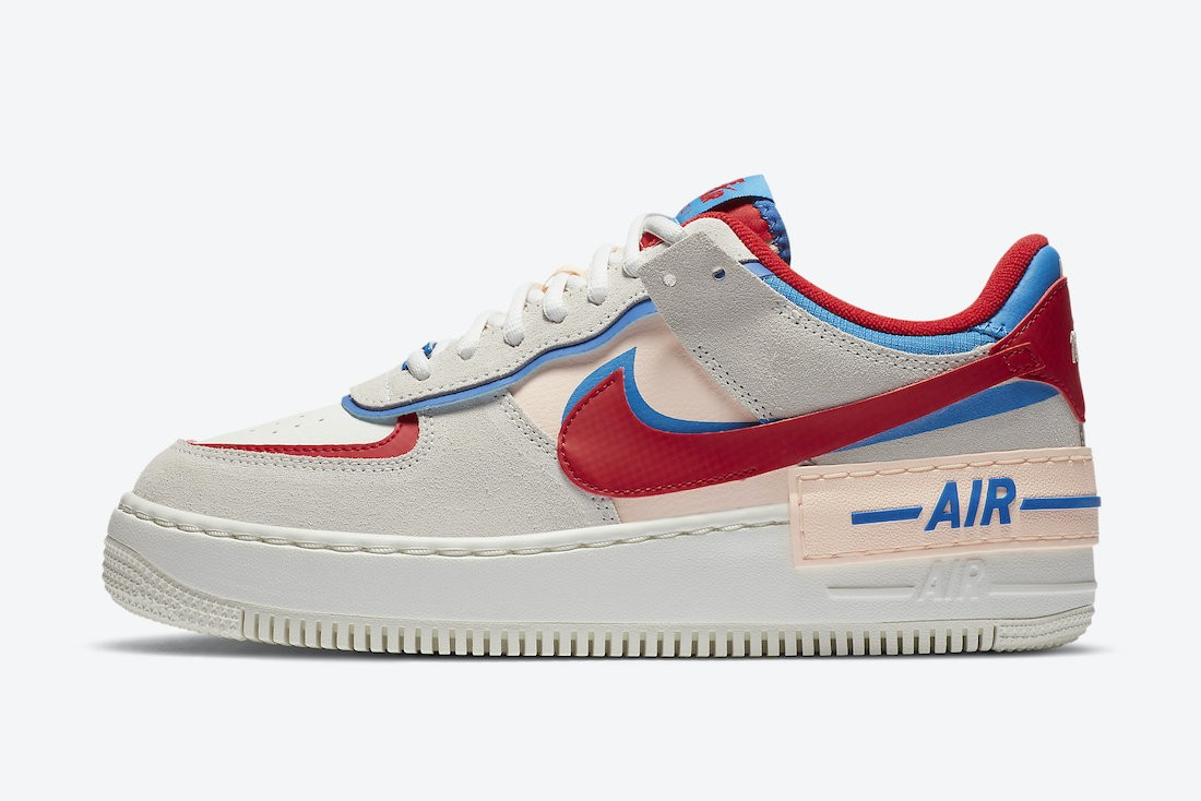CU8591-100 Nike Femme Air Force 1 Shadow - Sail/Rouge-Bleu