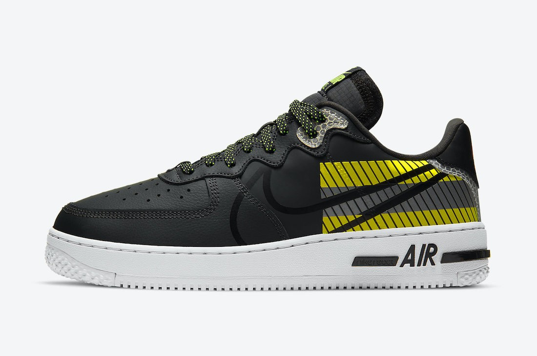 CT3316-003 3M x Nike Air Force 1 React D/MS/X Homme - Anthracite/Noir-Volt-Rouge