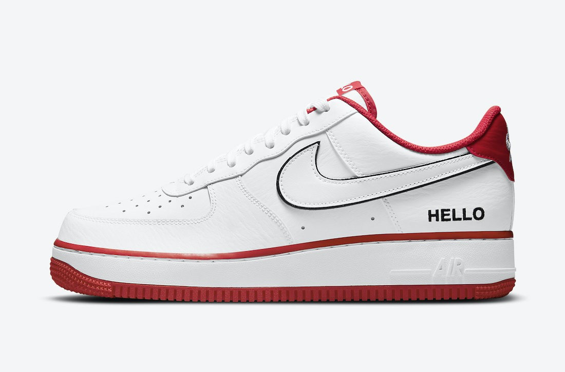 """CZ0327-100 Nike Air Force 1 Low """"Hello"""" - Blanche/Blanche-Rouge-Noir"""