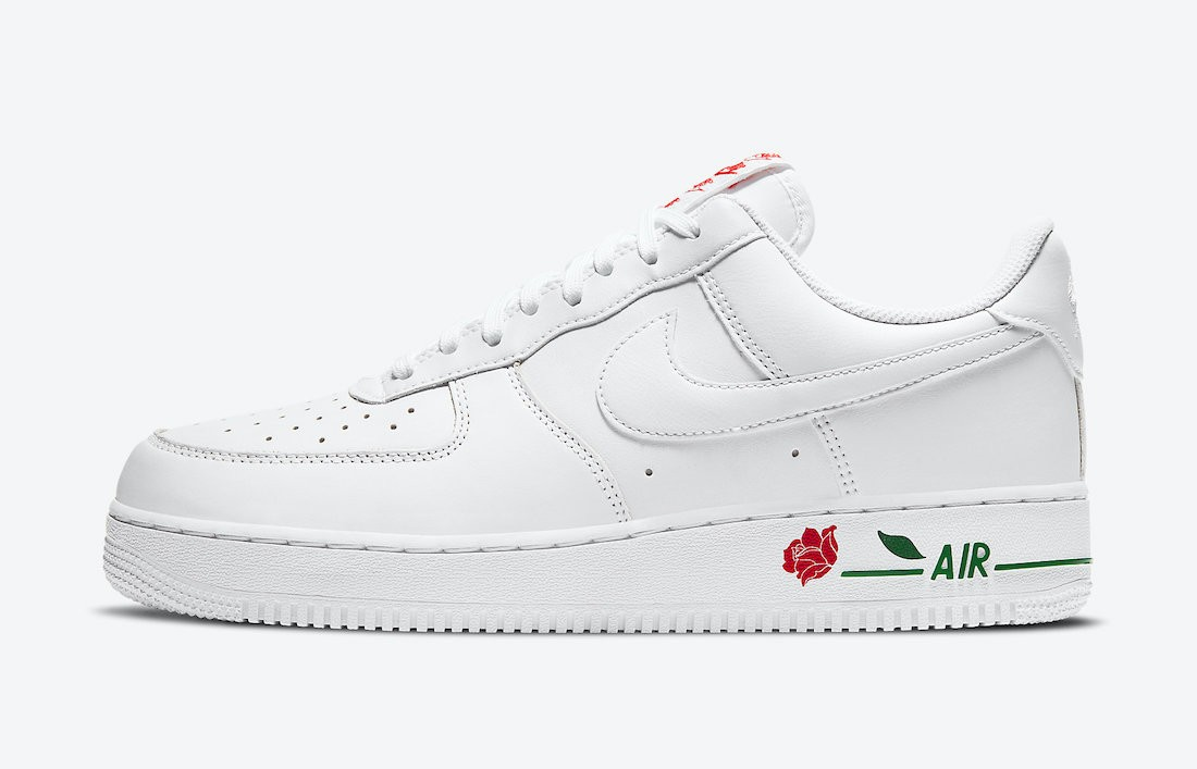 """CU6312-100 Nike Air Force 1 Low """"Rose"""" - Blanche/Rouge-Vert"""