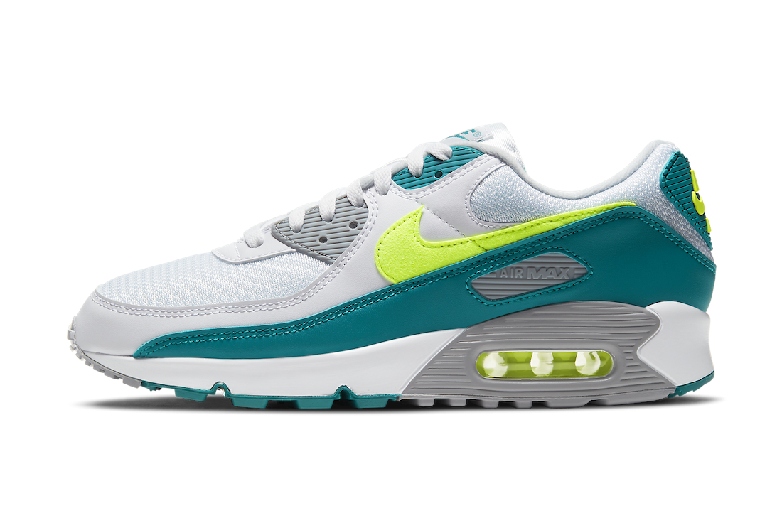 CZ2908-100 Nike Air Max 90 - Blanche/Hot Lime-Spruce-Grise