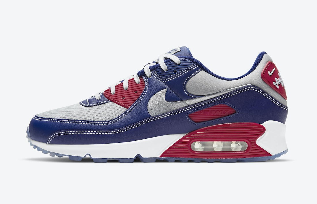 "DD8457-400 Nike Air Max 90 ""Pirate Radio"" - Bleu/Argent-Rouge"