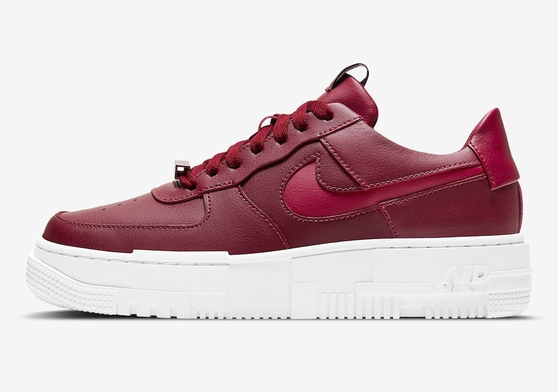 CK6649-600 Nike Femme Air Force 1 Pixel Chaussures - Rouge/Blanche
