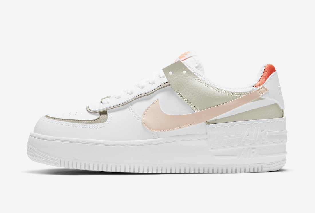 DH3896-100 Nike Femme Air Force 1 Shadow - Blanche/Crimson Tint-Bright Mango