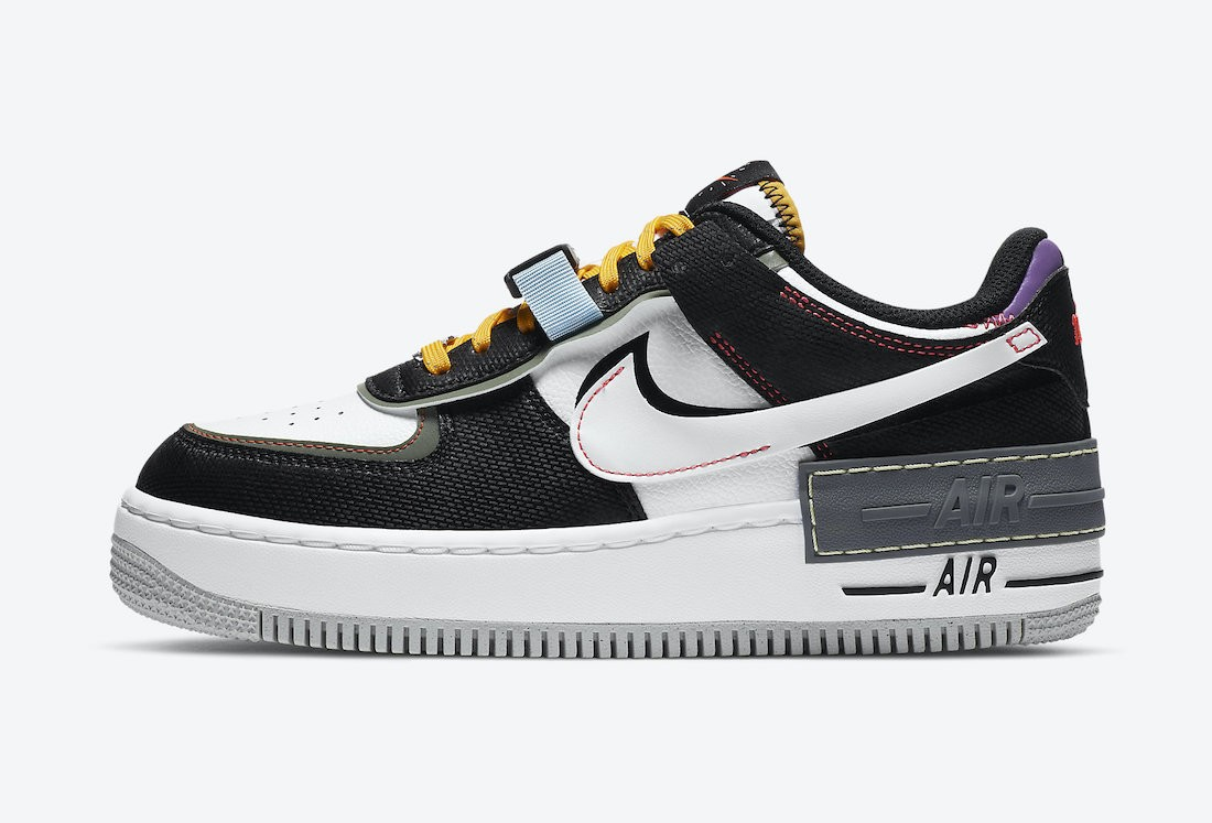 """DC2542-001 Nike Air Force 1 Shadow """"Fresh Perspective"""" - Noir/Blanche-Spiral Sage"""