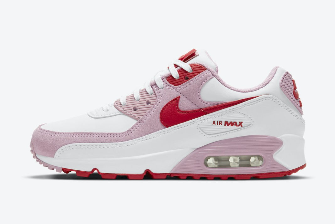 "DD8029-100 Nike Air Max 90 ""Valentine's Day"" - Blanche/Rouge-Rose"