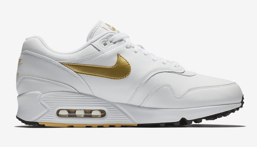 AJ7695-102 Nike Air Max 90/1 Chaussures - Blanche/Metallic Gold