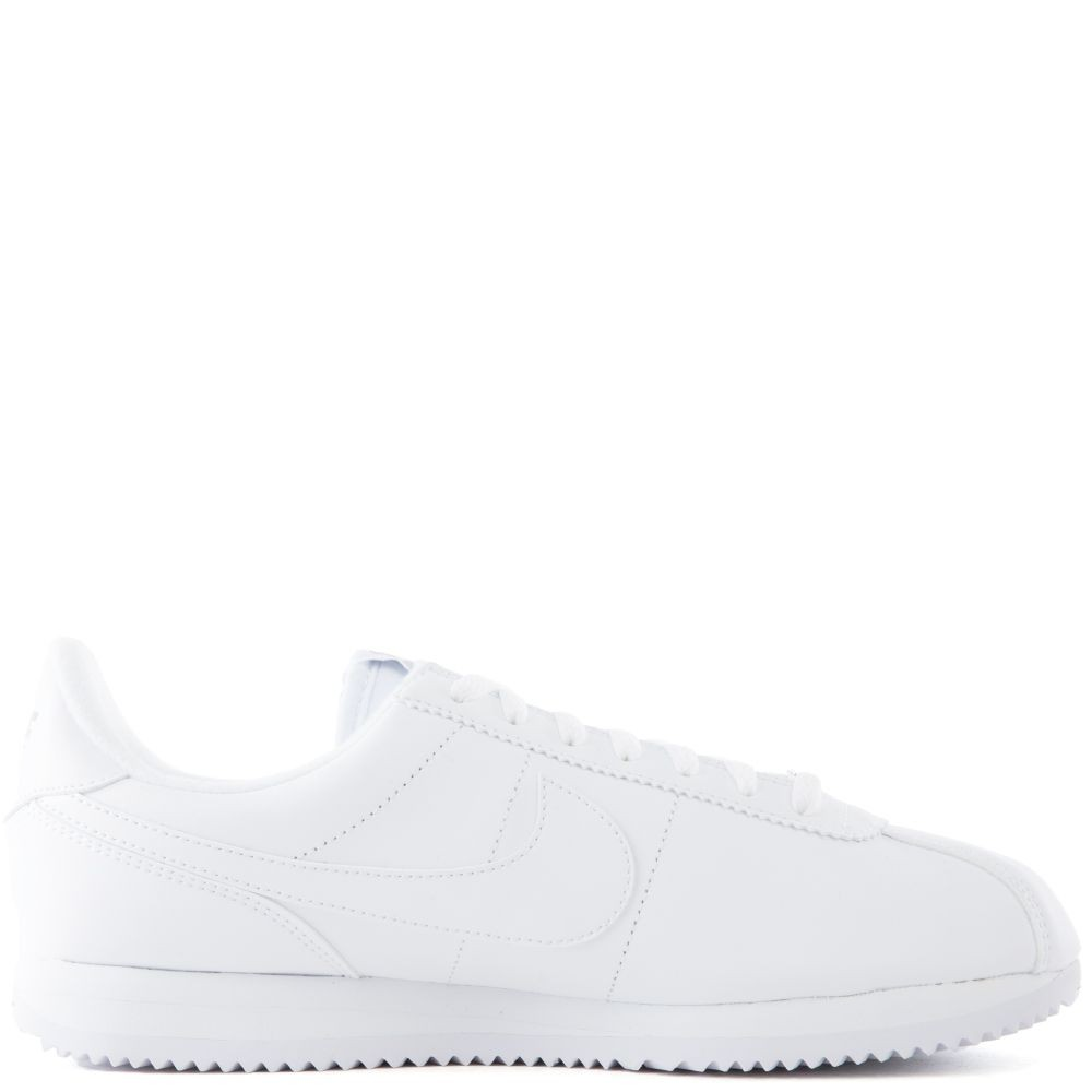 819719-110 Homme Nike Cortez Basic Leather Chaussures - Blanche/Grise/Argent
