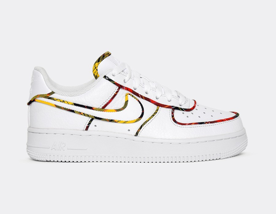 AV8218-100 Nike Femme Air Force 1 Low - Blanche/Rouge-Amarillo