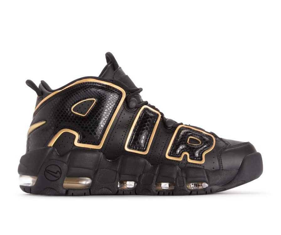 AV3810-001 Nike Air More Uptempo 96 Qs Chaussures - Noir/Metallic Gold