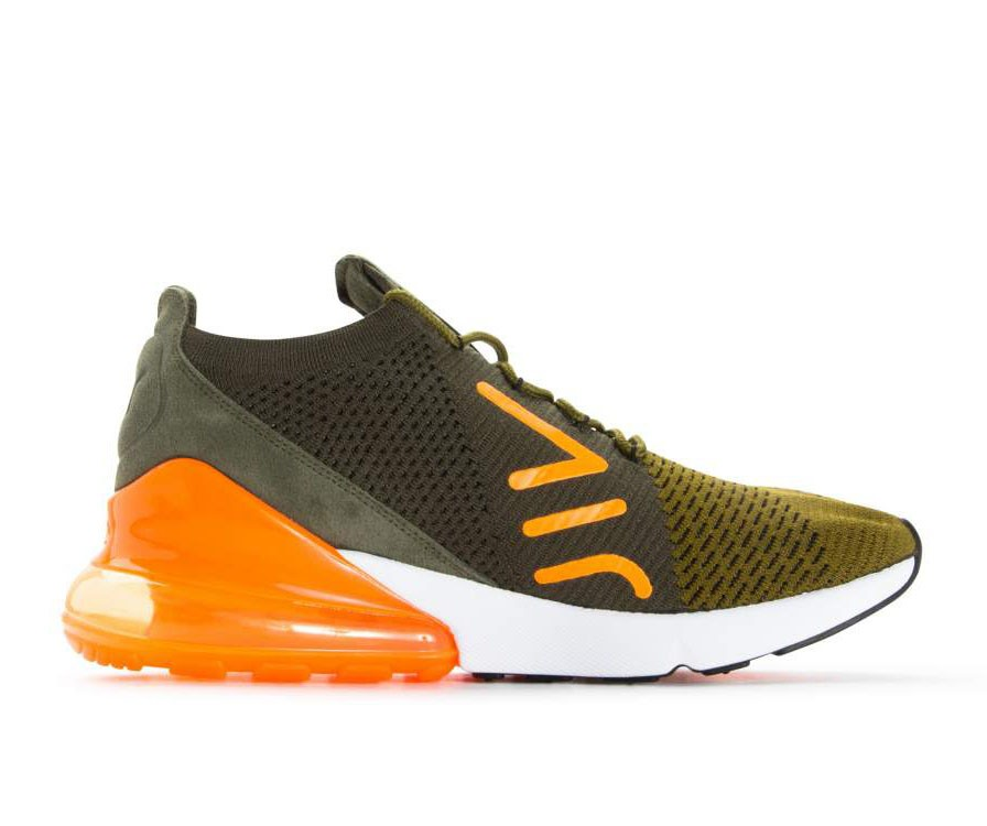 AO1023-301 Nike Air Max 270 Flyknit Chaussures - Vert/Orange