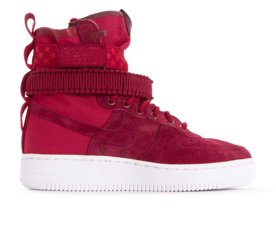 857872-601 Nike Femme Sf Air Force 1 - Rouge/Blanche-Burgundy