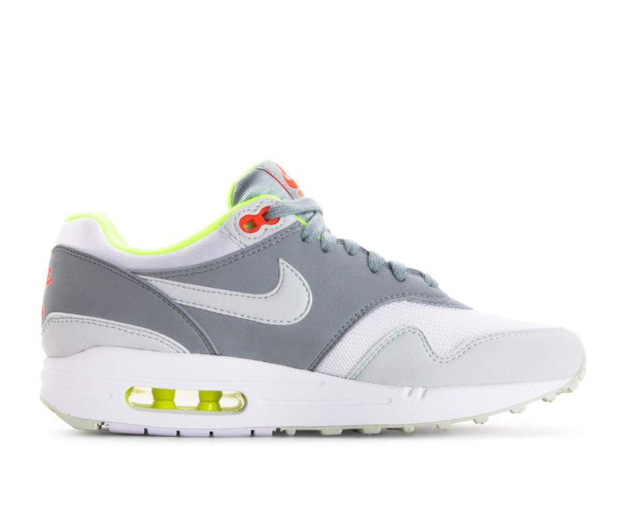 319986-107 Nike Femme Air Max 1 - Blanche/Grise/Light Pumice/Volt