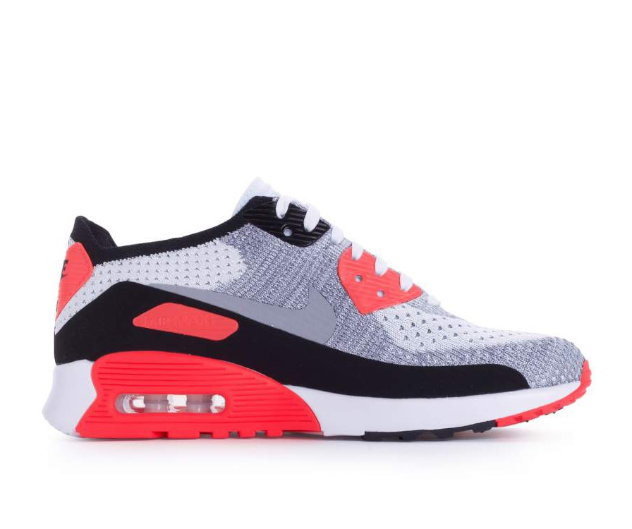 881109-100 Nike Femme Air Max 90 Flyknit Ultra 2.0 - Blanche/Grise/Bright Crimson/Noir