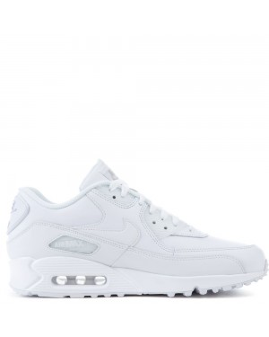 302519-113 Homme Nike Air Max 90 Leather Chaussures - Blanche/Blanche