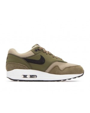 319986-304 Nike Femme Air Max 1 Chaussures - Olive Canvas/Noir-Olive