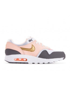 807605-104 Nike Air Max 1 GS Chaussures - Blanche/Metallic Gold/Gunsmoke
