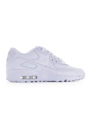 833412-100 Nike Air Max 90 Leather GS Chaussures - Blanche/Blanche